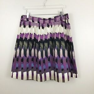 Ann Taylor Pleated Watercolor Lined Skirt